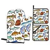 ASNIVI Guantes y agarraderas para Horno, Pescado de mar y Agua Dulce Marlín Azul, atún, salmón y Trucha, caballa y Lucio, Perca y lubina mariscos,Guantes Resistentes al Calor Guantes aislantes ,