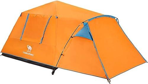 Tente de camping en plein air Camel, 3-4 personnes, Structure à double couche, Ouverture rapide, Résistant à la pluie, Prougeection solaire, Imperméable, Convient aux pêcheurs sur le terrain de pique-ni