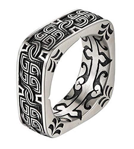 RXSHOUSH Anillo de hombre, plata S925, cuadrado, redondo, anillo de pangu, anillo de regalo de la suerte para hijo novio, 18#