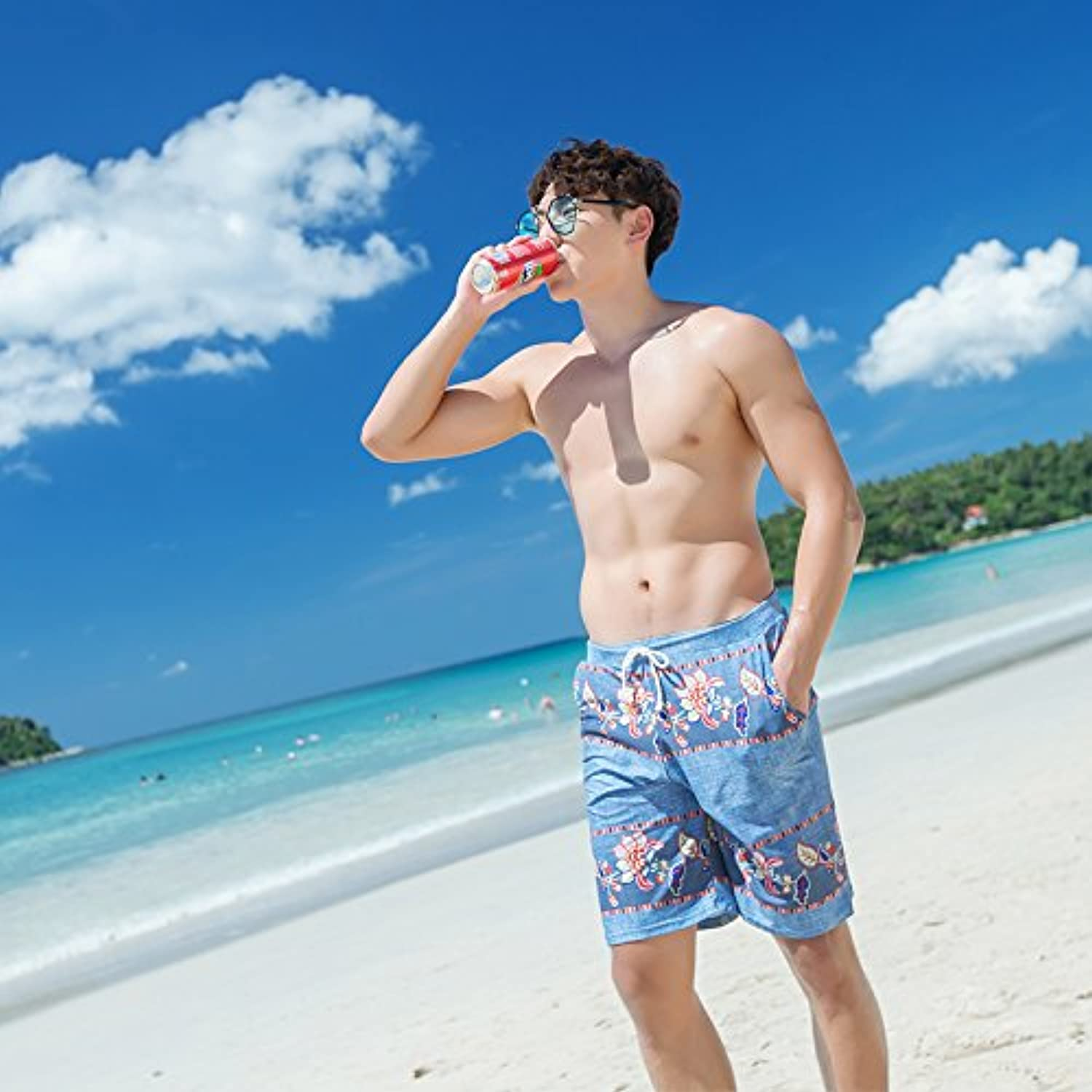 HAIYOUVK Couples swimwear comfortable male beach pants conservative thin cover belly belly piece skirt steel plate gather swimwear female