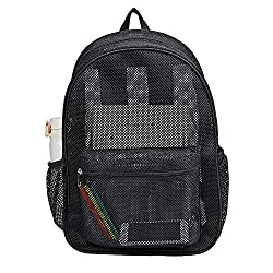 top rated High-performance translucent mesh backpack, transparent padded college student backpack … 2021