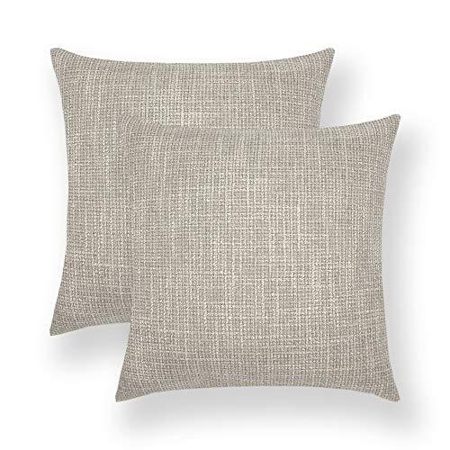 2 kussenslopen, Scandinavisch katoen, solide kleur en linnen, Coffee Shop, voor slaapbank, auto, kussen, 45 x 45 cm grijs.