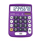 Desktop Calculator 12 Digit with Large LCD Display and Sensitive Button, Solar and Battery Dual Power, Standard Function for Office, Home, School, CD-8185 (Light Purple)