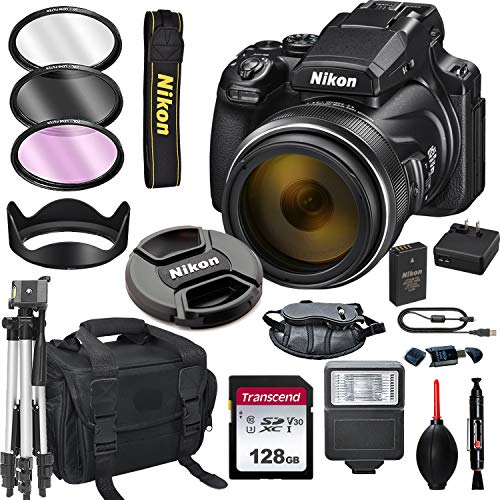 Nikon COOLPIX P1000 16.7 Digital Camera + 128GB Card, Tripod, Flash, and More (18pc Bundle)