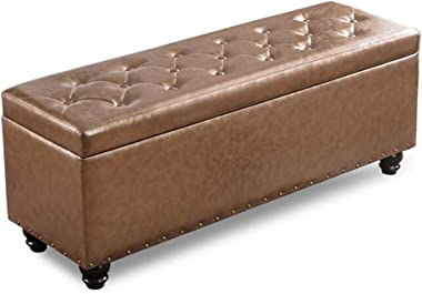 YYQIANG Fashion Faux Leather Storage Ottoman Bench with Hinged Lid,Modern Look with Button Tufted Design Durable and Stylish