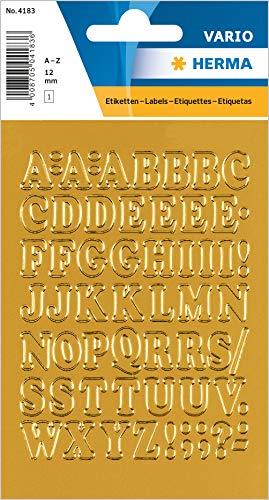 HERMA 4183 Buchstaben Aufkleber A - Z aus Goldfolie (Schriftgröße 12 mm, 1 Blatt, Folie) selbstklebend, permanent haftende Alphabet Sticker, 56 Etiketten, gold