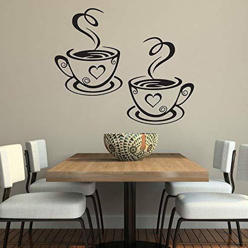 Nuevo diseño calcomanías par de tazas de café pegatinas de pared en forma de corazón de vinilo calcomanía de la pared para el comedor extraíble decoración Cafe Z 70x42cm