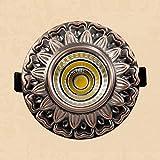 M-zen Patrón vintage europeo Redondo empotrado 3 / 5W LED Downlights Focos Industrial Retro Interior Lámpara de techo Panel Decoración de luz Pasillo Escaleras Sala de estar Mostrador Tienda Villa Ofi