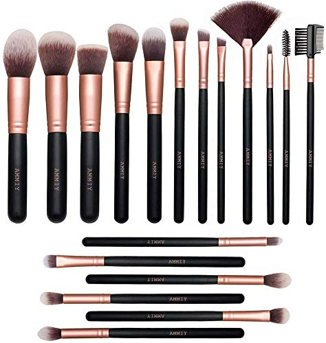 Ammiy Pinselset Make up Pinsel Set Professionelle mit Gesichtspinsel Lidschattenpinsel Augenpinsel Synthetische Haar Kosmetik Pinselsets Eyeshadow Eyeliner Gesichtspuder 18 Stück (Rosa Gold)