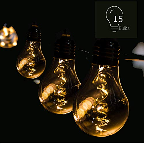 LED String Lights,Outdoor and Indoor Use15 LED Edison Vintage Bulbs Solar Battery Plug in Power 3 Adapter Shatterproof Waterproof,Hanging for Patio Bistro Pergola Deckyard Porch Garden Wedding