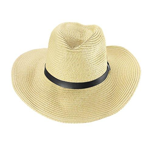 Cappello da cowboy da uomo, a tesa larga, in paglia, cappello Fedora, cappello da sole pieghevole,...