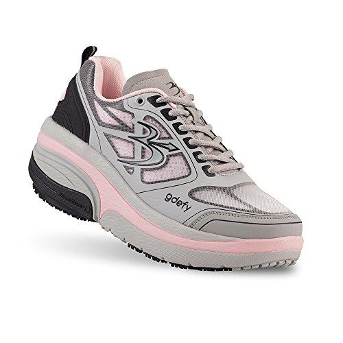 Gravity Defyer Proven Pain Relief Women's G-Defy Ion Comfortable Walking Shoes for Plantar Fasciitis, Heel Pain, Knee Pain Gray, Pink Nebraska