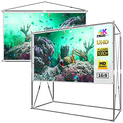 JaeilPLM 100-Inch 2-in-1 Portable Projector Screen, Outdoor Indoor Compatible with Rectangle Stand or Hanging Design Movie Projection for Home Theater, Gaming, Office(SQ100)