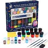 TBC The Best Crafts - Kit de pintura acrílica, 28 colores metálicos y normales, juego con pinceles para artistas profesionales aficionados a los niños