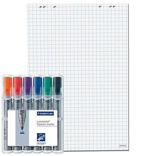 5x Flipchartblöcke, Weiss kariert, je Block 20 Blatt 69x99 cm, 6 fach Lochung, perforiert, Papier für Flipchart (5 Flipchartblöcke + 6er Marker, Kariert)