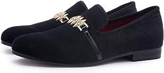 e186c4a5 DAN Hombres Mocasines Trenzado De Terciopelo Negro Deslizamiento Plano En  Mocasines Zapatos De Vestir Para Hombres