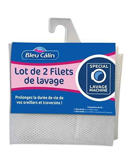 Bleu Câlin Lot de 2 Filets de Lavage pour Oreiller et Traversin, Polyester, Blanc, 65x30/ 65x40 cm