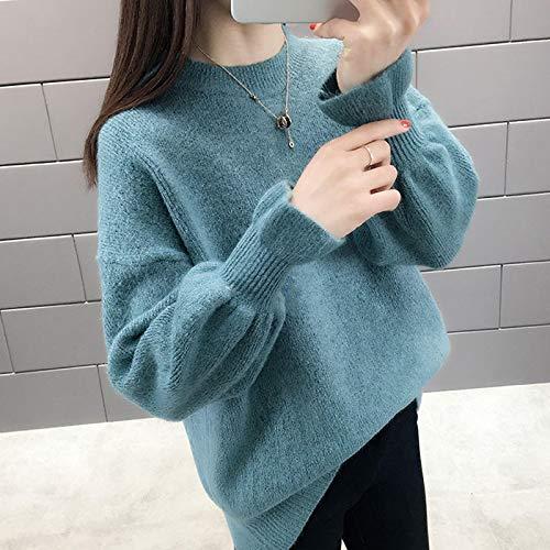 Moda Sudaderas Jersey Sweater Otoño Invierno Mujer Suéter Casual Cuello Redondo Sólido Tejido Pulóver Suelta Manga Acampanada Elegante Suéteres Mujeres L 06