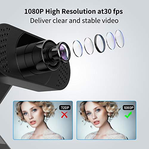 wansview Webcam 1080P mit Mikrofon, Webcam USB 2.0 Plug und Play für Laptop, PC, Desktop, mit automatischer Lichtkorrektur, für Live-Streaming, Videoanruf, Konferenz, Online-Unterricht, Spiel