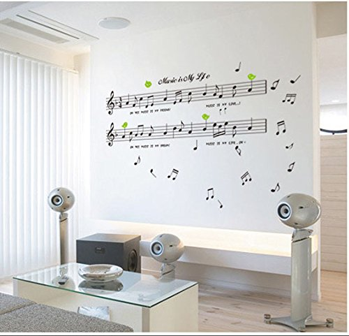 WONZOM notas musicales pared decoración Swing adhesivo decorativo para pared...