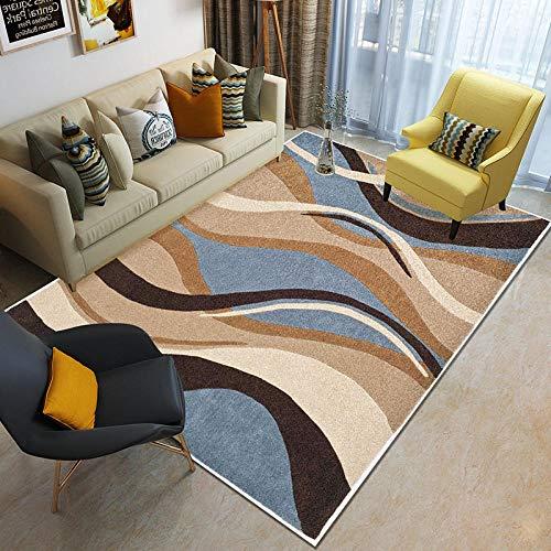 HXJHWB Moderna alfombra decorativa de pelo corto - Multicolor ola 3D impresión interior alfombra moderna sala de estar sofá mesa de café antideslizante - 160 cm x 230 cm