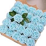 Breeze Talk Artificial Flowers Light Blue Roses 50pcs Realistic Fake Roses w/Stem for DIY Wedding Bouquets Centerpieces Arrangements Party Baby Shower Home Decorations