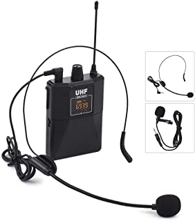 Gecheer UHF Dual-Frequency Wireless Microphones Set with 1 Receiver 1 Transmitter 1 Lavalier Mic 1 Headset Mic for Teachin...