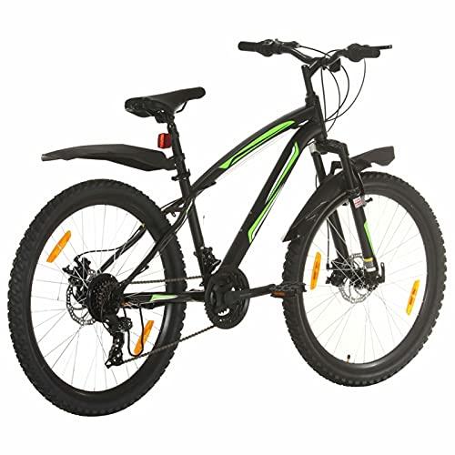 Qnotici Bicicleta de montaña 26 Pulgadas Ruedas Tren de transmisión de 21 velocidades, Altura del Cuadro 36 cm, Negro