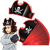 Nezyo 25 Sombreros de Papel de Fiesta Pirata Sombreros de Pirata con Estampado de Calavera de Cumpleaños Suministros de Fiesta Temática Pirata para Cosplay de Fiesta Pirata Disfraz Halloween