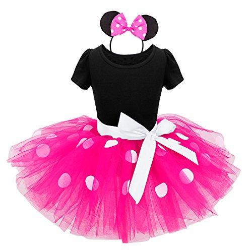 TiaoBug Mädchen Kostüm Kleid für Kinder - Polka Dots Prinzessin Kostüm Karneval Tutu Party Kleid mit Haarreif Dunkel Rosa 92