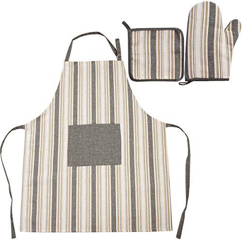 Viste tu hogar Pack de Delantal con Bolsillo Delantero, Cinta Ajustable y Guantes para Cocina en Algodón Resistentes al Calor, Ideales para Cocinar, en Color Gris.