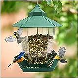 Hongyans Comedero para Pájaros Exterior Comedero Pajaros Silvestres Gran Capacidad Casita Pajaros Colgante Comida Pajaros para Jardin Balcon (Verde)