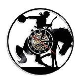 Enofvd Reloj de Pared de Caballo de Montar a Caballo de Vaquero, Reloj de Bolsillo con Disco de Vinilo, decoración Ecuestre Vintage para Dormitorio de 12 Pulgadas