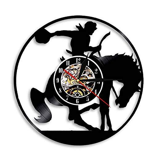 Rgzqrq Reloj de Pared de Vaquero Caballo con pomo Disco de Vinilo decoración Reloj Caballo Mano Retro Vinilo Mudo Arte Mural 30x30 cm