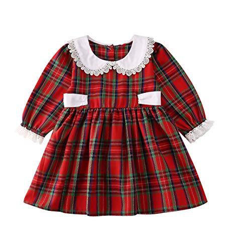 Baby Girl Christmas Dress Matching Newborn Girl Bodysuit Plaid Lace Princess Skirt Family Clothing (Dress/Long Sleeve, 2-3 Years)