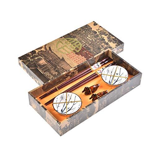 Quantum Abacus Pregiato Set di Bacchette Doppia Carpa 2 Bacchette cesellate in Legno, 2 poggiabacchette, 2 Ciotole in Ceramica, in Confezione Regalo, MOD. I_S2-B-W-13