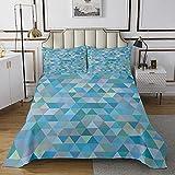 Colcha acolchada geométrica de rombo azul colcha acolchada para niños y niñas niños Cool Luxury Coverlet Set de cama de tamaño doble 3 piezas