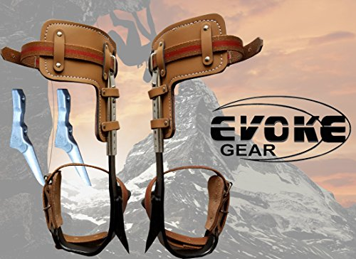 Evoke Gear Tree Climbing Spike Set Pole Climbing Spurs Climber Adjustable with Tree Graffs