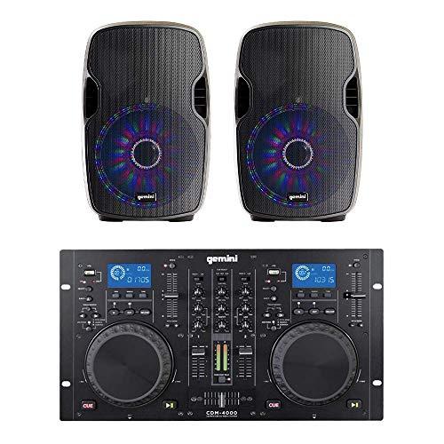 Gemini CDM4000 Dual CD DJ Controller + AS-15BLU-LT 4000W Soundsystem