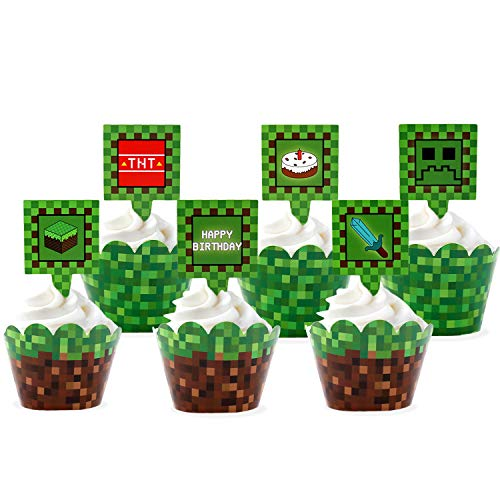 24 Pcs Pixel Cupcake Toppers and Wrapper Happy Birthday Party...