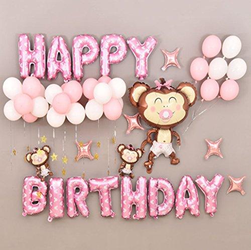 E.For.U Geburtstag Buchstaben Luftballons Set, Geburtstagsdeko für Mädchen,Ballon und Luftpumpe,Happy Birthday Party Ballons,Bunte Ballons für Geburtstagsfeiern (Rosa)