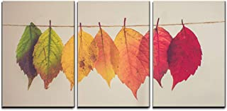 wall26 - 3 Piece Canvas Wall Art - Colorful Leaves Hang on String - Modern Home Decor Stretched and Framed Ready to Hang - 16