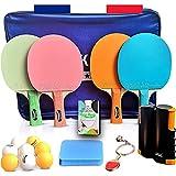 FAKAIS Raqueta/palas de ping pong de color, 4 raquetas de ping pong profesional, 8 pelotas, red de ping pong retráctil/portatil, esponja de limpieza, ideal para juegos en casa/familia o en competición