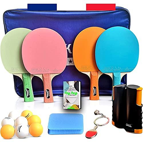 FAKAIS Raqueta palas de ping pong de color, 4 raquetas de ping pong profesional, 8 pelotas, red de ping pong retráctil portatil, esponja de limpieza, ideal para juegos en casa familia o en competición