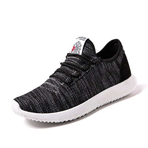 [Make 2 Be] メンズ アッパーニット スニーカー フィット 軽量 靴 シューズ 通気性 ランニング ジョギング ウォーキング アウトドア MF55 (26.Black_45(27.5cm))
