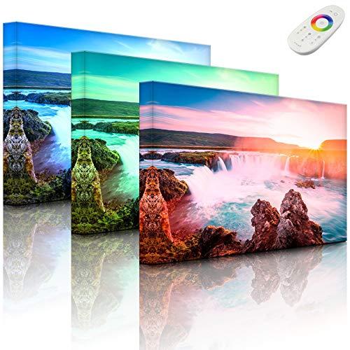 Lightbox-Multicolor | Wandbeleuchtung LED Bild | Idyllische Wasserfälle bei Sonnenuntergang | 80x60 cm | Fully Lighted
