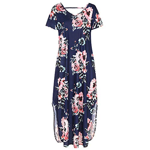 YAONING dames jurk print dames korte mouw hoofd V-hals gebreide jurk casual jurk losse taille super elastisch meisje X-Large C