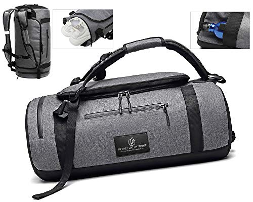 Sports/Gym Duffle Bag – 45L Durable Gym Bag with Shoe Compartment 3 in 1 Travel Bag with Laptop and Shower Compartment, and Hidden Water Bottle Pouch – Holdalls Duffel for Men and Women (Grey)