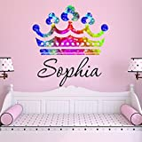 Girls Princess Tiara Rainbow Glitter Crown Personalized Custom Name Nursery Wall Decal, Size Large Girls Room Wall Decals, Princess Wall Decals, Nursery Decals, Plus Free Hello Door Decal