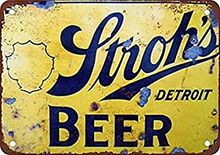 Ufcell Retro Vintage Tin Metal Sign 8x12 Stroh's Beer Wall Decor